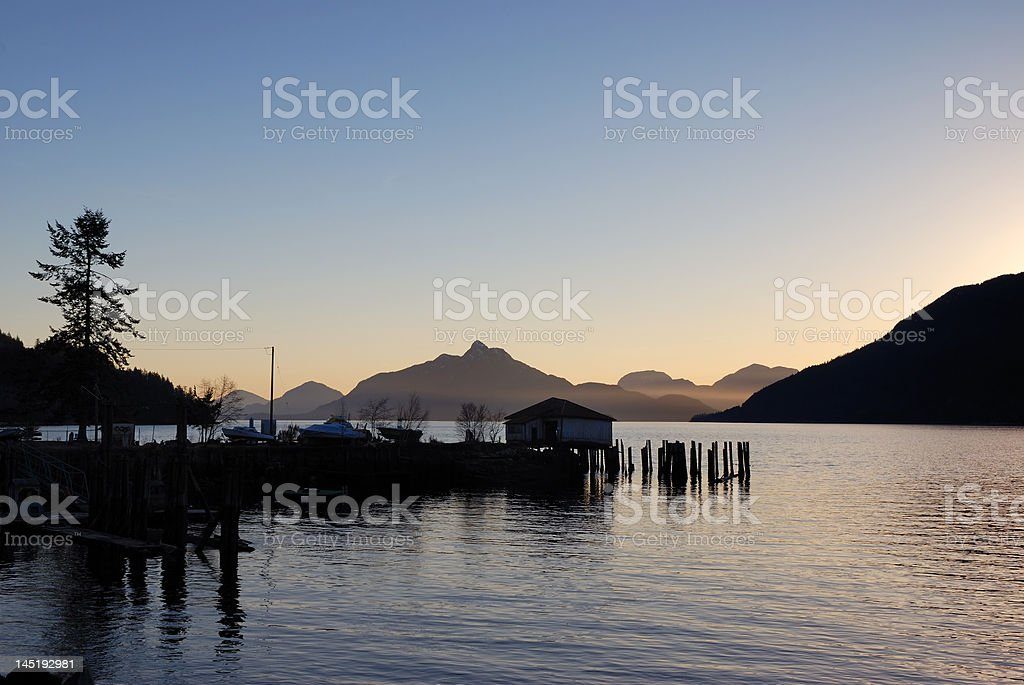 Sunset at Britannia beach, british Columbia stock photo