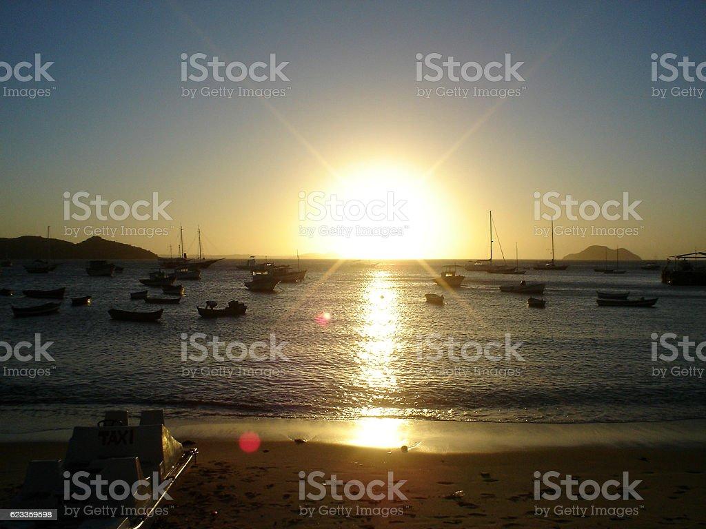 Sunset at Buzios beach in Rio de Janeiro stock photo