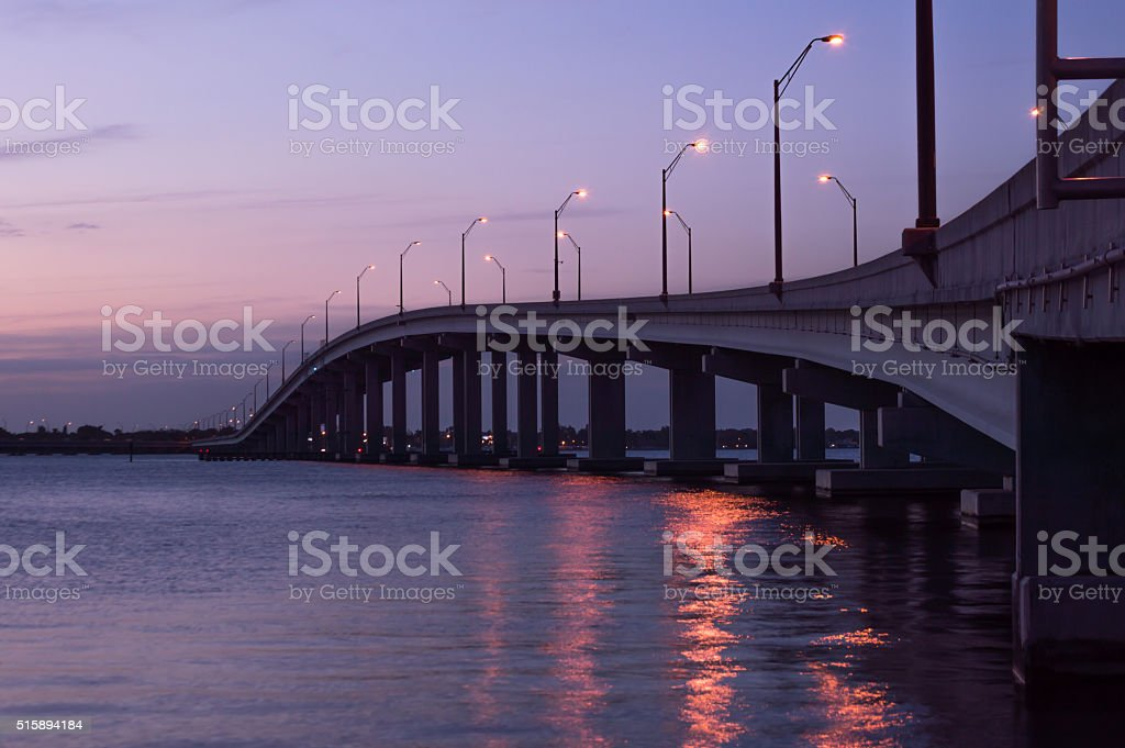 Sunset at Caloosahatchee Bridge  Fort Myers Florida stock photo