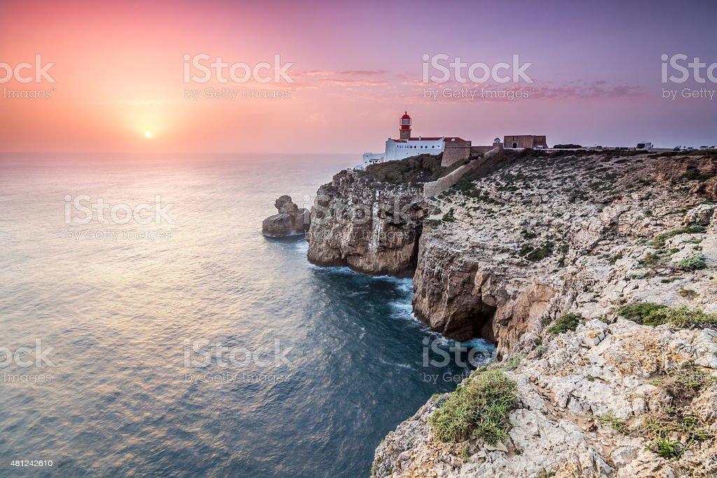 Sunset at Cape St. Vincent, Sagres, Algarve, Portugal stock photo