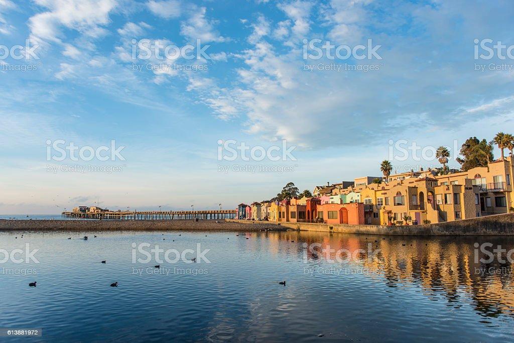 Sunset at Capitola Village. Capitola, Santa Cruz County, California, USA stock photo