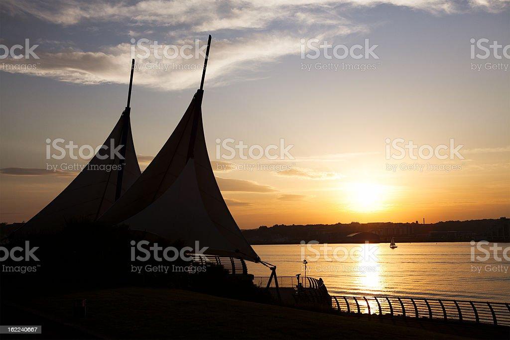 Sunset at Cardiff Bay stock photo