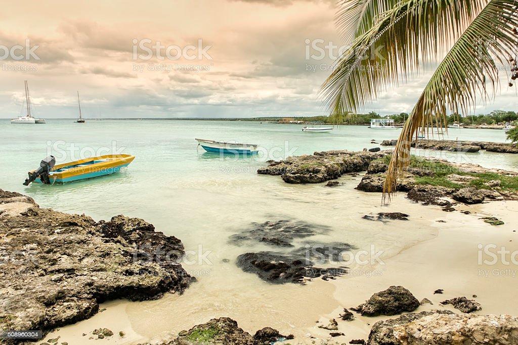 Sunset at Caribbean sea stock photo