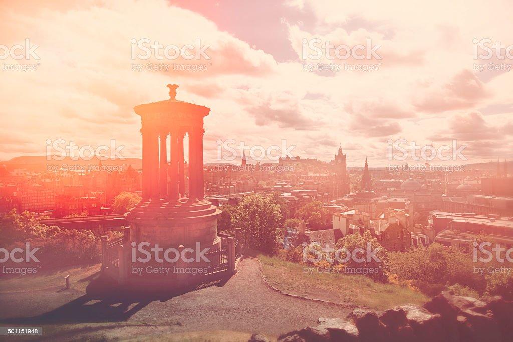Sunset at Carlton Hill, Edinburgh stock photo