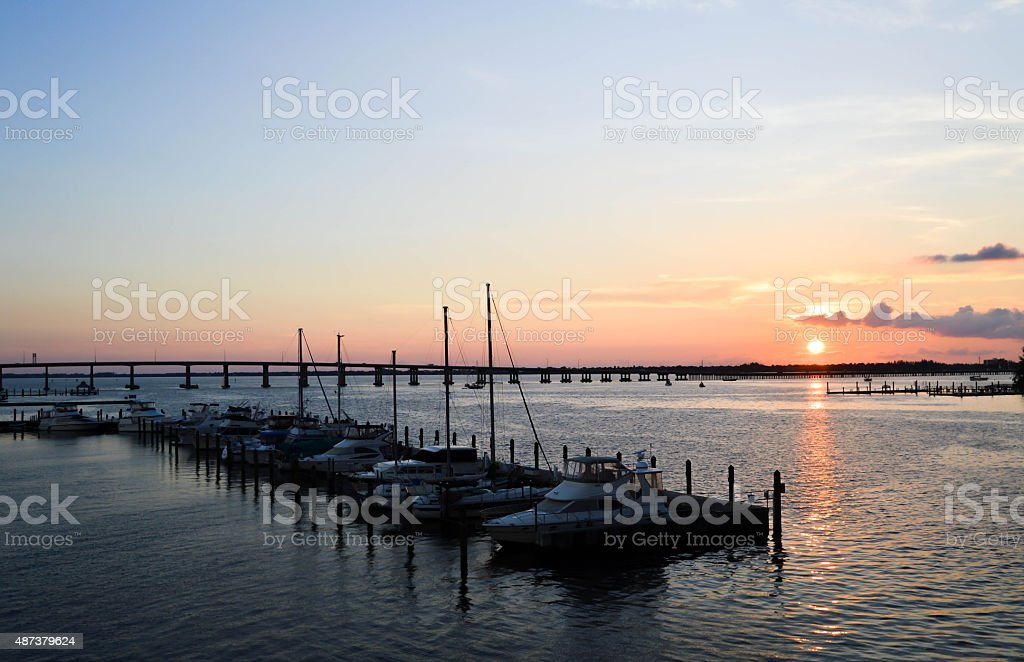 Sunset At Cetennial Park Fort Myers River District Florida stock photo