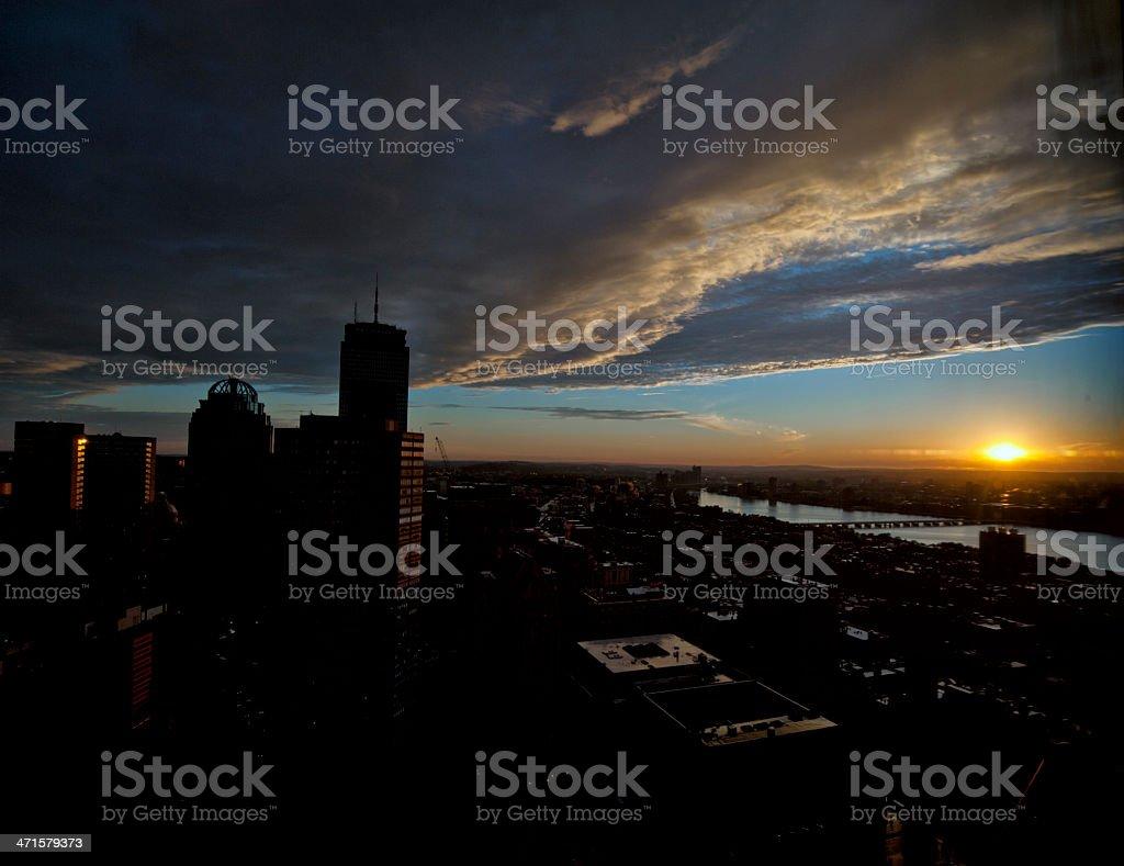 Sunset at Charles River, Boston royalty-free stock photo
