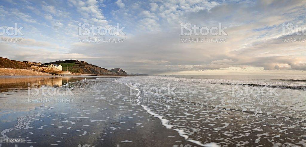 Sunset at Charmouth on the Dorset Jurassic Coast stock photo