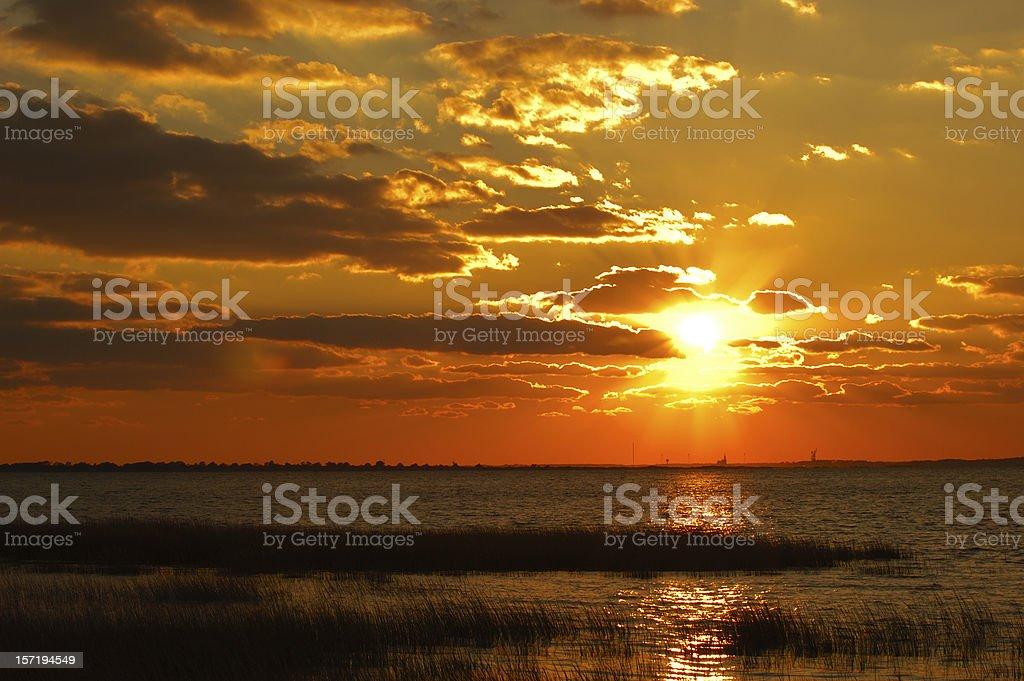 Sunset at Chincoteague royalty-free stock photo