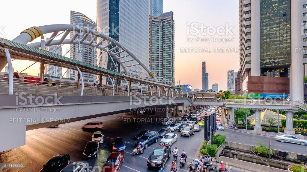 Sunset at Chong Nonsi skywalk Bangkok skytrain station (BTS) in Bangkok, Thailand stock photo