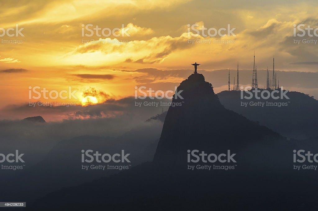 Sunset at christ redeemer, Rio de Janeiro, Brazil stock photo