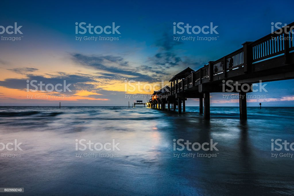 Sunset at Clearwater beach waterfront, Florida stock photo