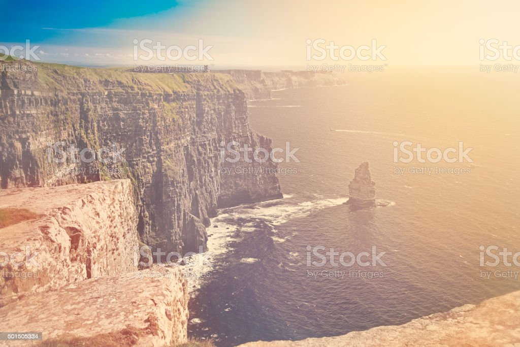Sunset at Cliffs of Moher, Ireland stock photo