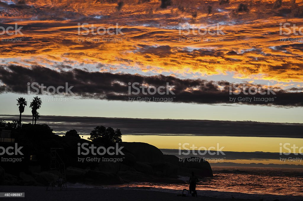 Sunset at Clifton Beach - Cape Town, South Africa stock photo