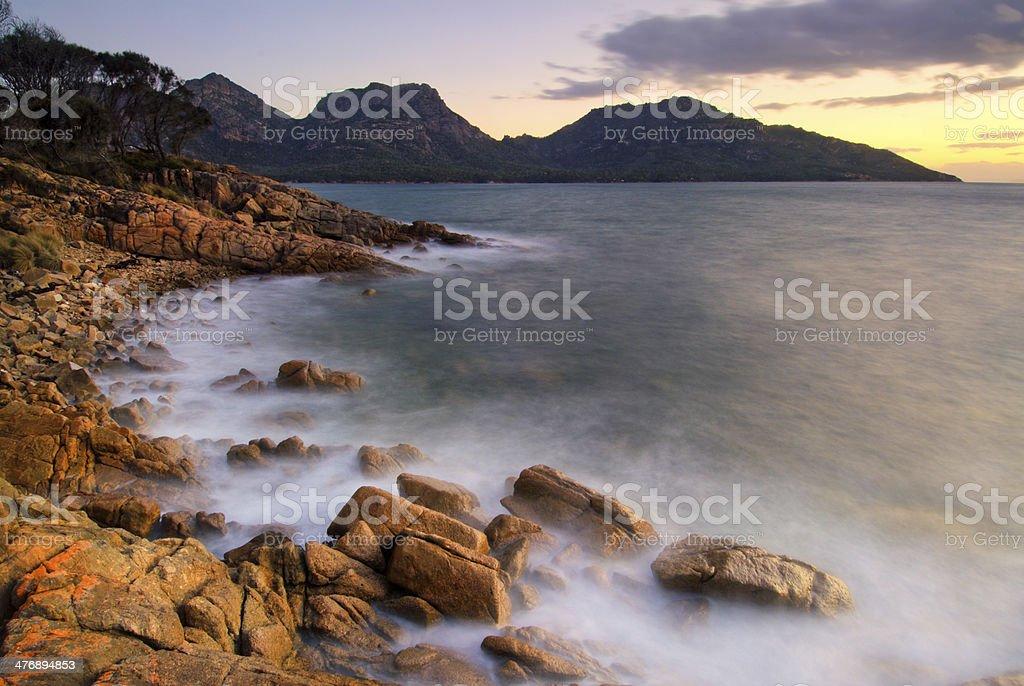 Sunset at Coles Bay, Freycinet National Park, Tasmania, Australia stock photo
