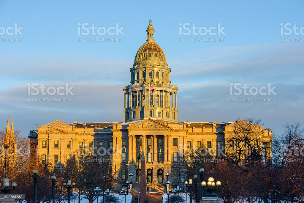 Sunset at Colorado Capitol stock photo