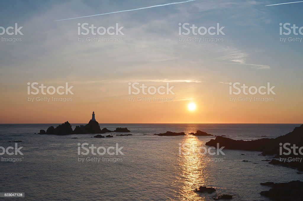 Sunset at Corbiere Lighthouse on Jersey stock photo