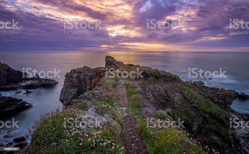 Sunset at Cornwall, England stock photo
