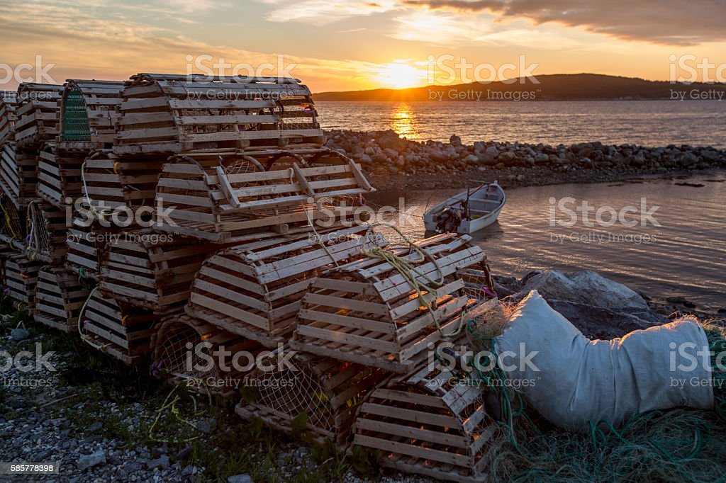 Sunset at Cow Head fishing harbour, Newfoundland stock photo