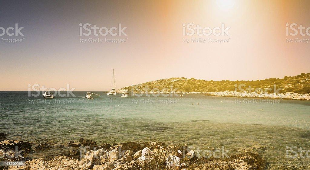 Sunset at Croatian beach royalty-free stock photo