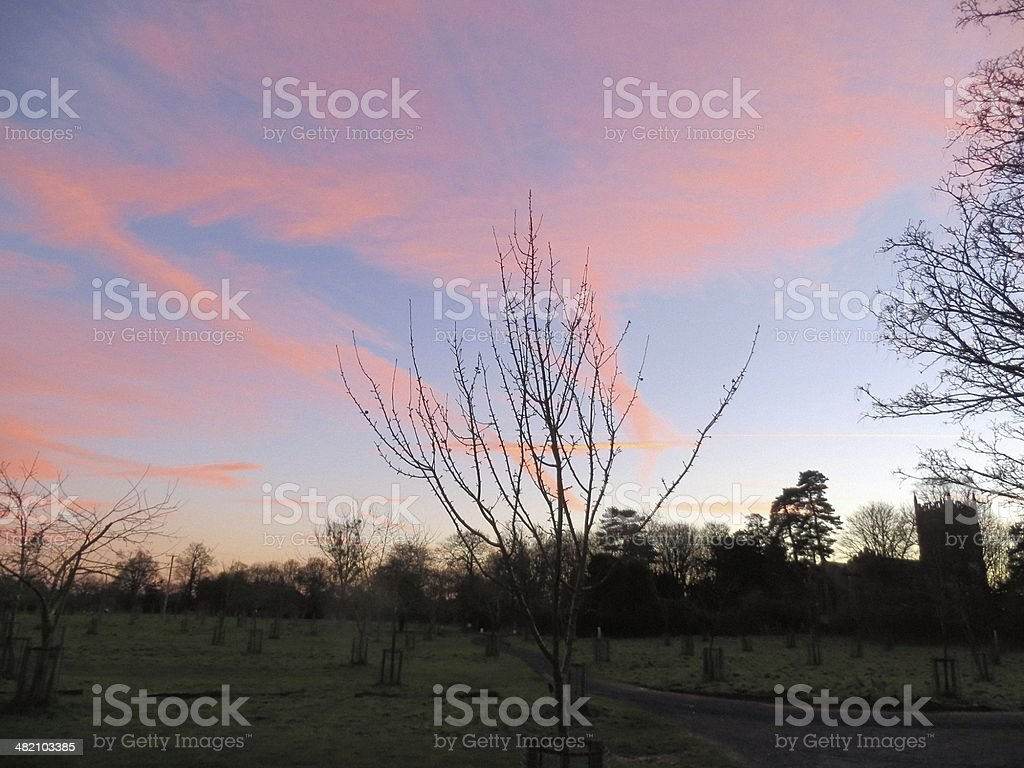 Sunset at Croome Park stock photo