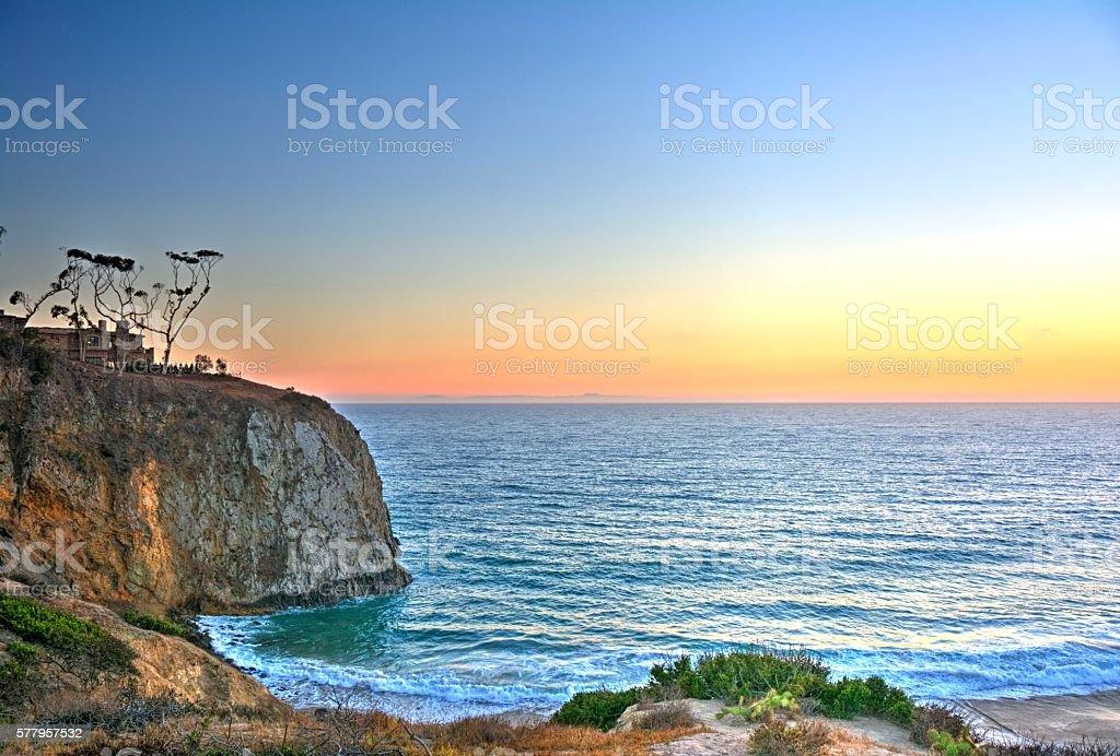 Sunset at Crystal Cove, Laguna Beach, California stock photo