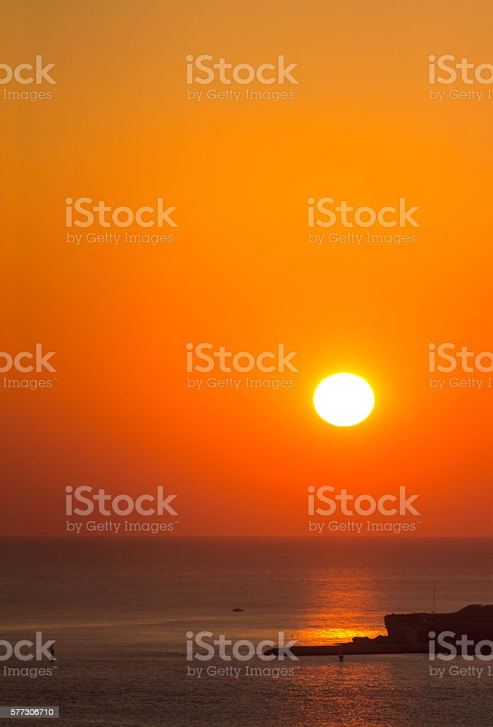 Sunset at Dardanelles strait; European side stock photo