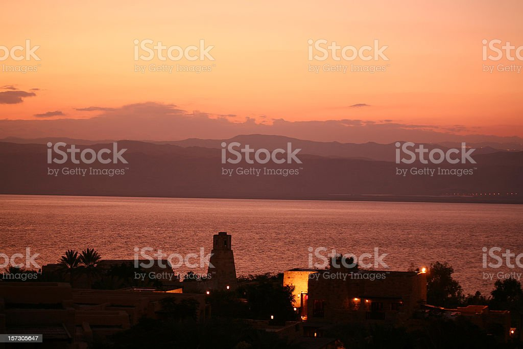 Sunset at dead sea royalty-free stock photo