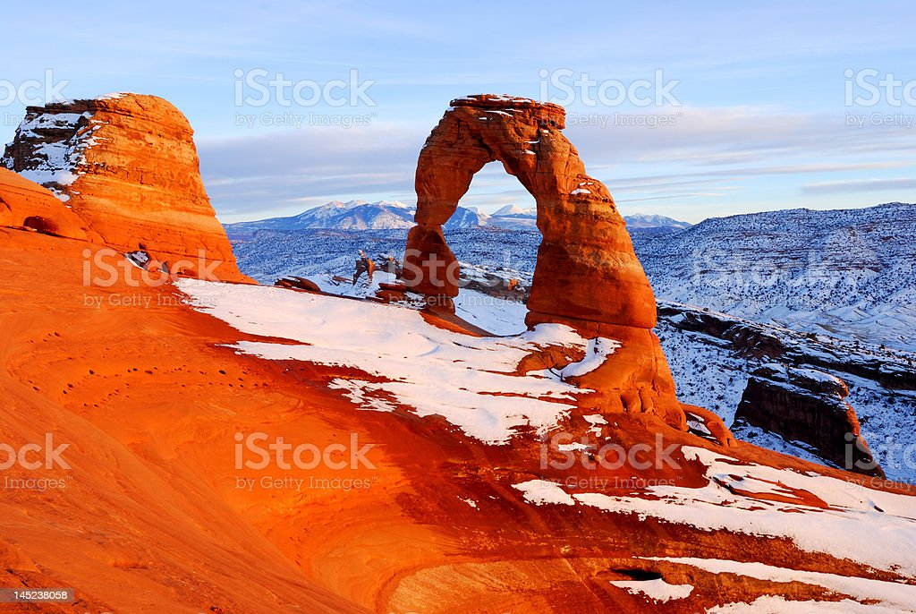 Sunset at Delicate Arch stock photo