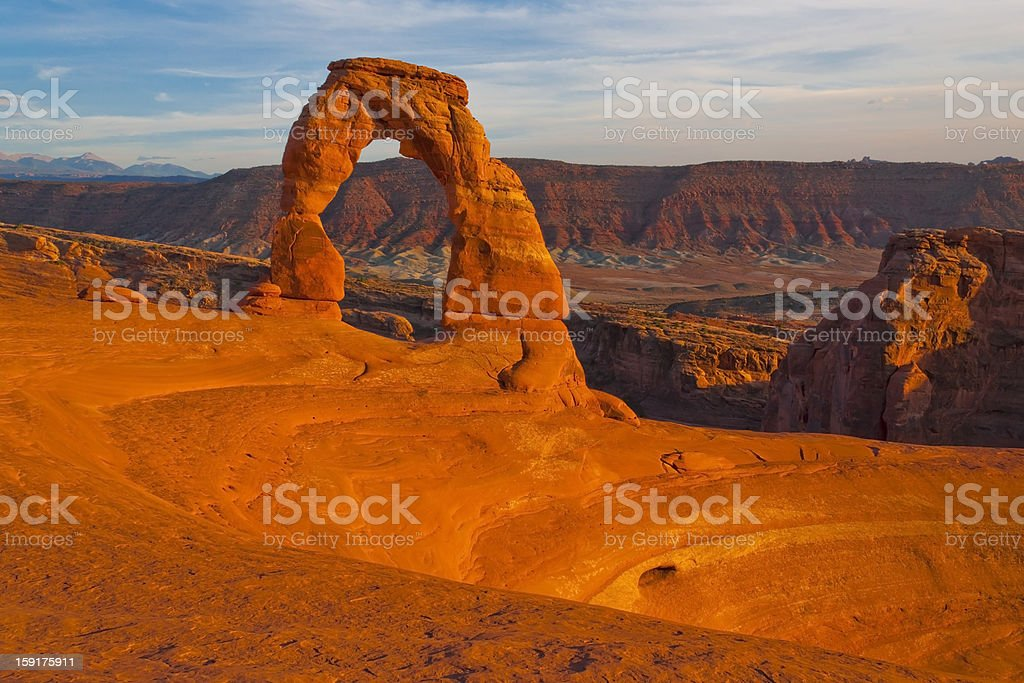Sunset at Delicate Arch royalty-free stock photo