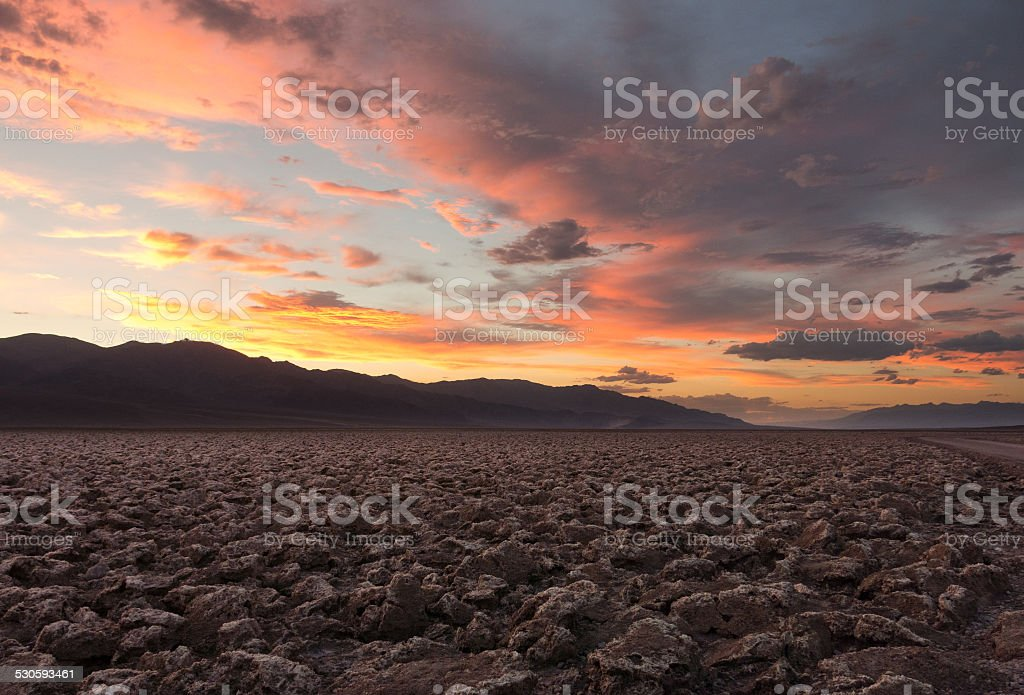 Sunset at Devils Golf Course in Death Valley National Park stock photo