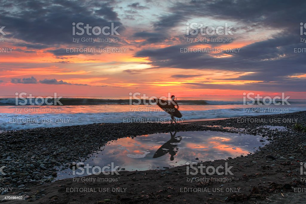 Sunset at Dominical Beach, Costa-Rica stock photo