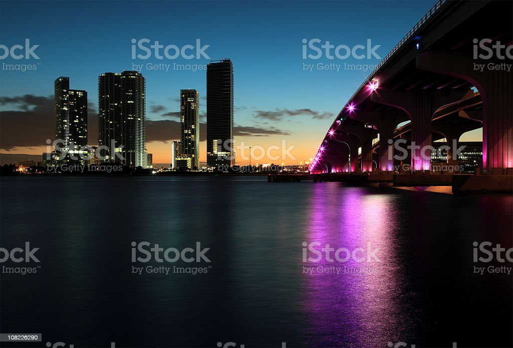 Sunset at downtown miami royalty-free stock photo