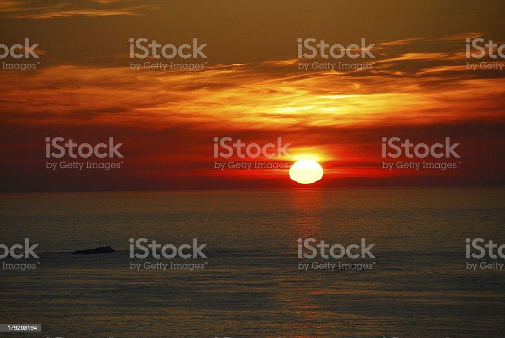 Sunset at Dunluce Castle, Northern Ireland stock photo