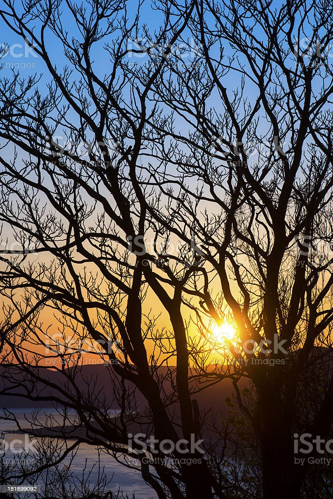 Sunset at early spring over Bay of Kotor royalty-free stock photo