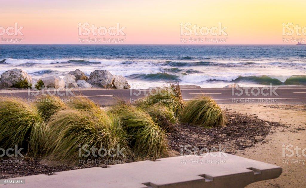 Sunset at El Porto Beach stock photo