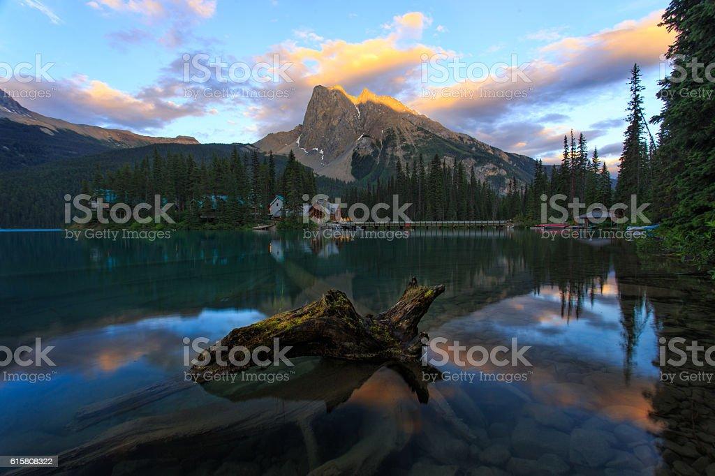 Sunset at Emerald Lake stock photo