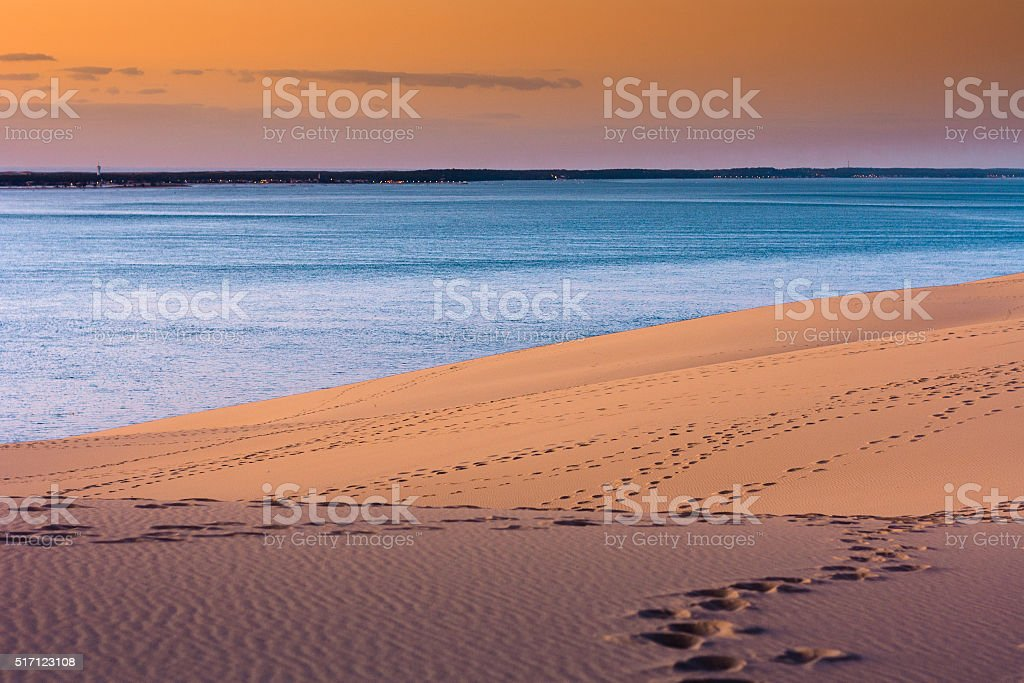 Sunset at Europe's highest dune with Bassin of Arcachon stock photo