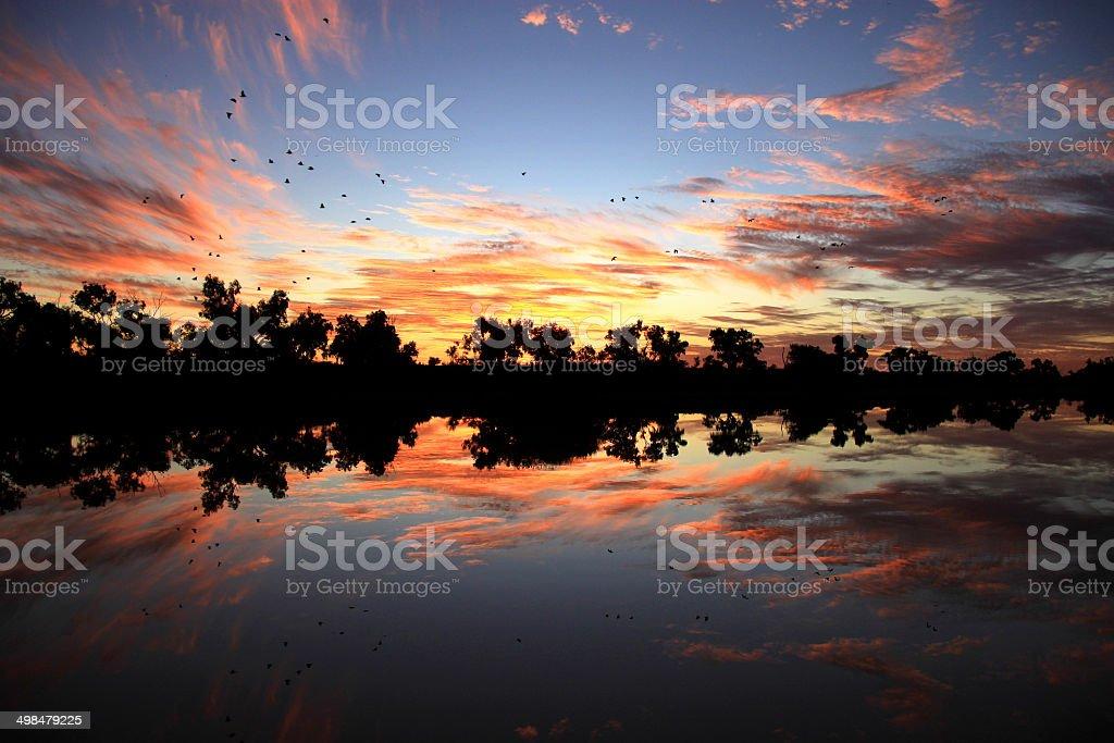 Sunset at Eyre Creek, Birdsville, Australia royalty-free stock photo