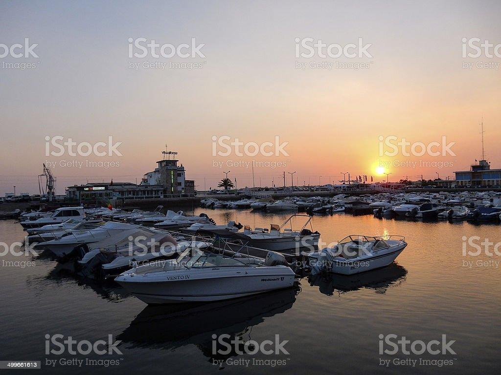 Sunset at Faro Marina royalty-free stock photo