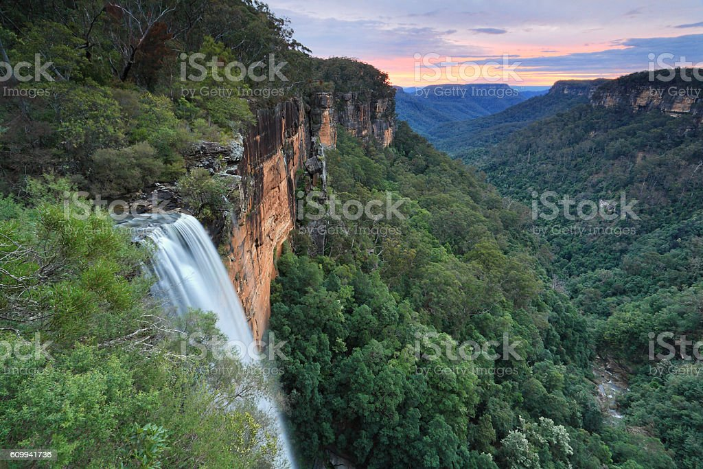 Sunset at Fitzroy Falls Southern Highlands stock photo