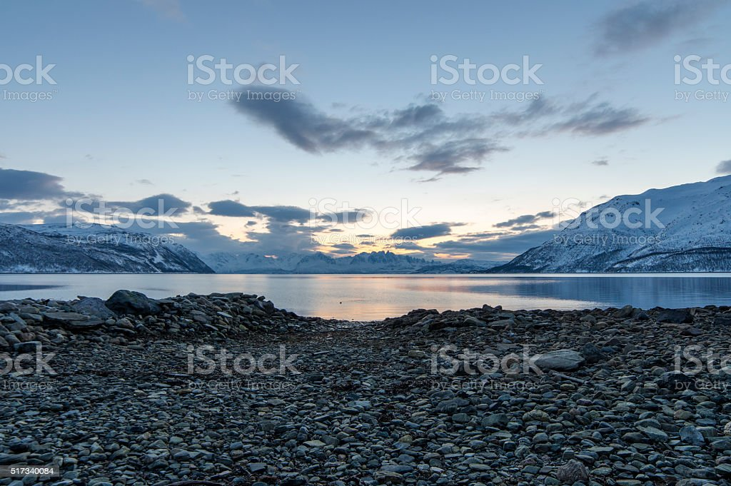 Sunset at Fjord stock photo