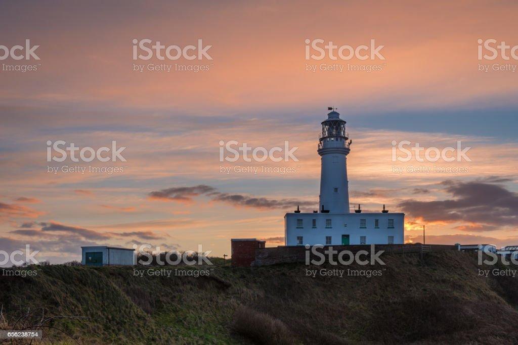 Sunset at Flamborough Head Lighthouse stock photo