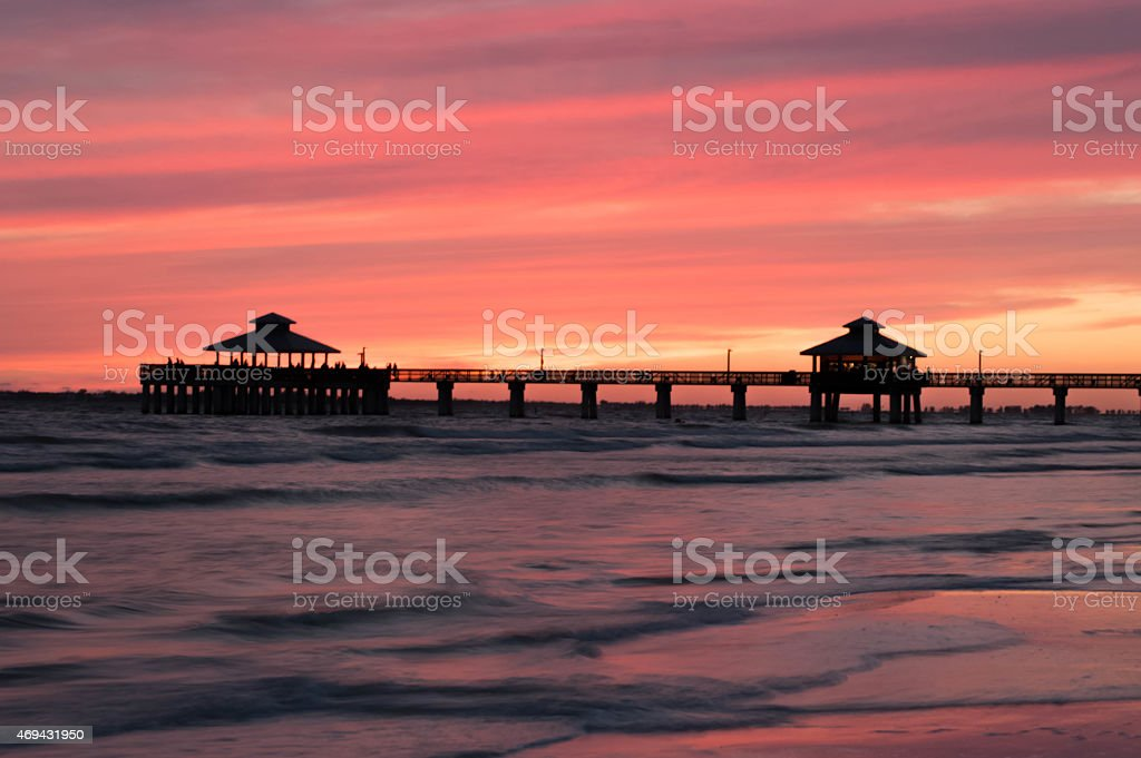 Sunset at Fort Myers Pier stock photo