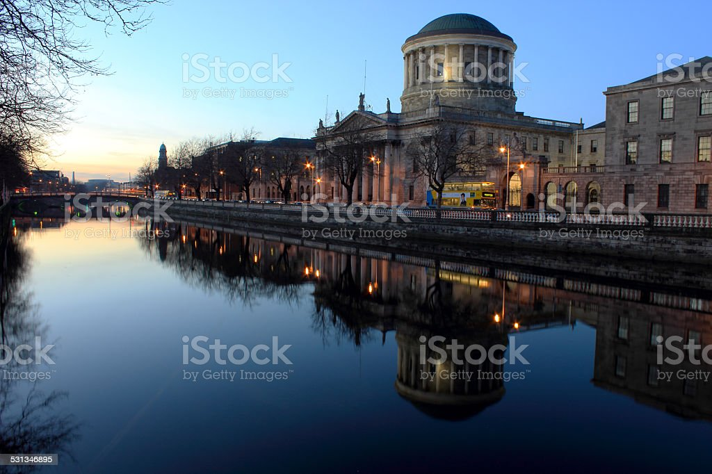 Sunset at Four Courts, River Liffey, Dublin stock photo