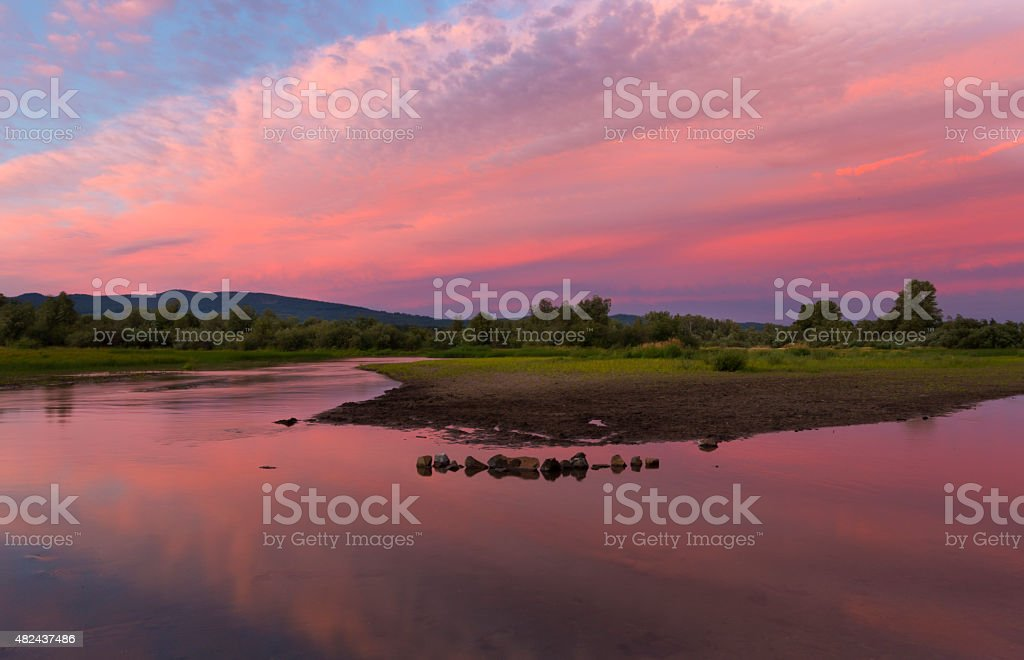 Sunset at Frout Lake stock photo