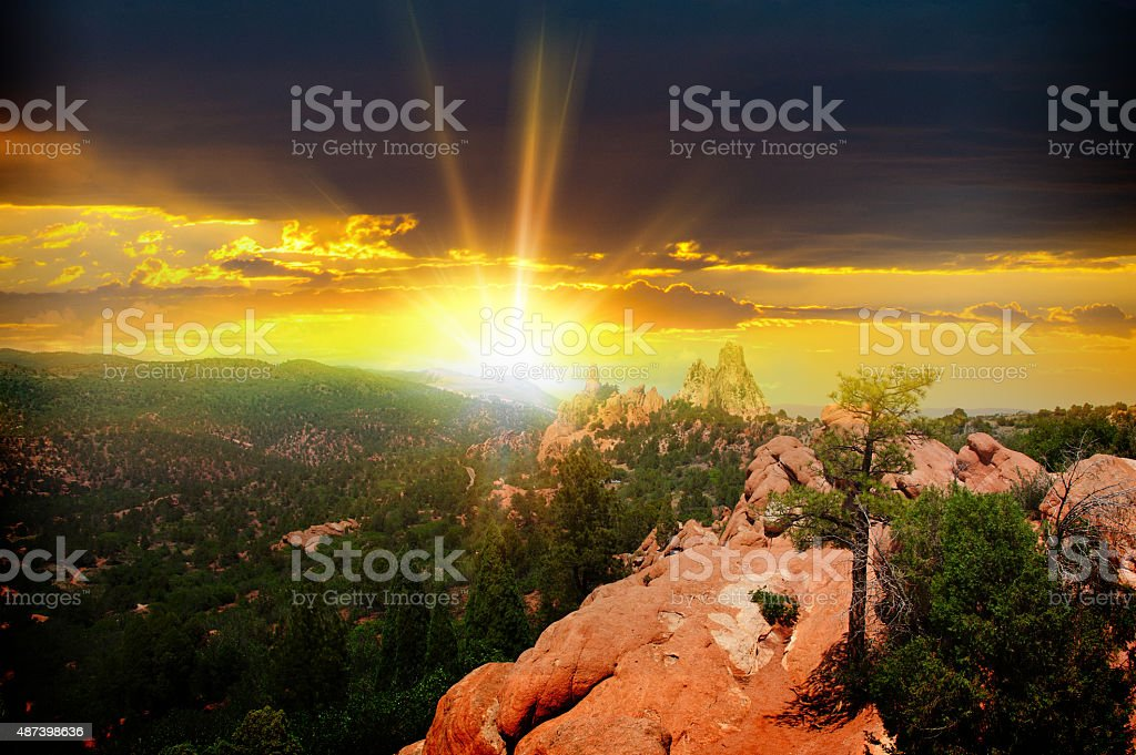 Sunset at Garden of the Gods, Colorado Springs stock photo