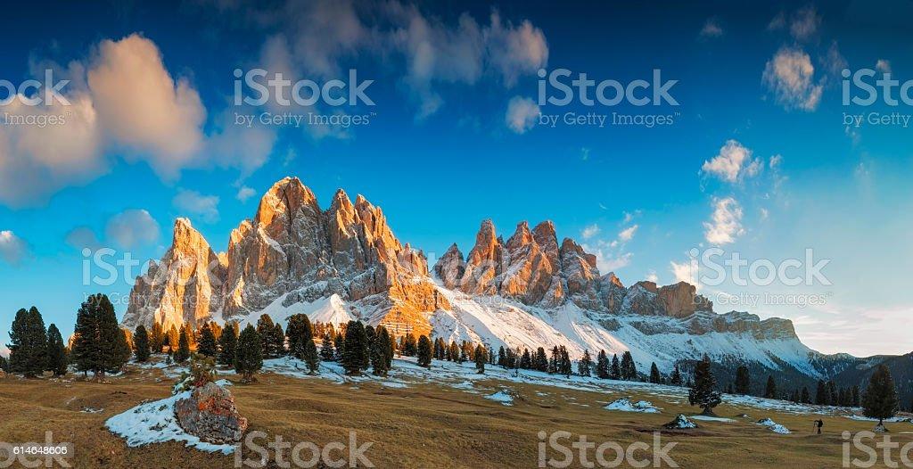 Sunset at Geisler Group in Southtirol, Alps -XXXL Panorama stock photo