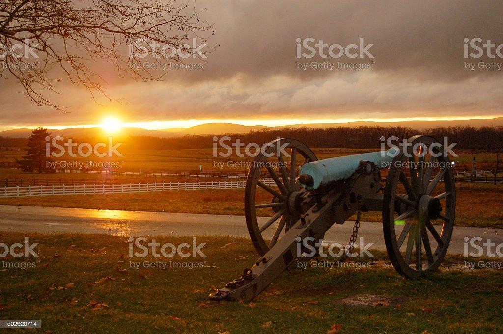 Sunset at Gettysburg stock photo