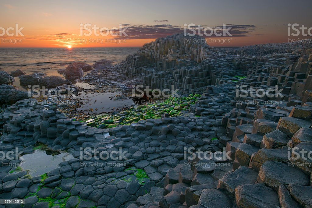 Sunset at Giant Causeway stock photo