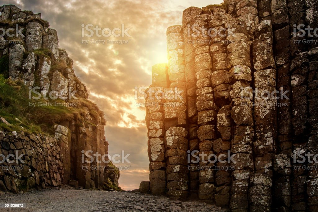 Sunset at Giant's causeway in Northern Ireland stock photo